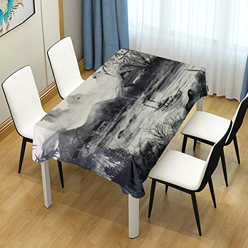 Mr.Lucien Chinese Ink Style Painting Tablecloth Village River Boat Wood Mountain Bird Fog Table Cover for Kitchen Dinning Halloween Christmas Tabletop Decoration 54