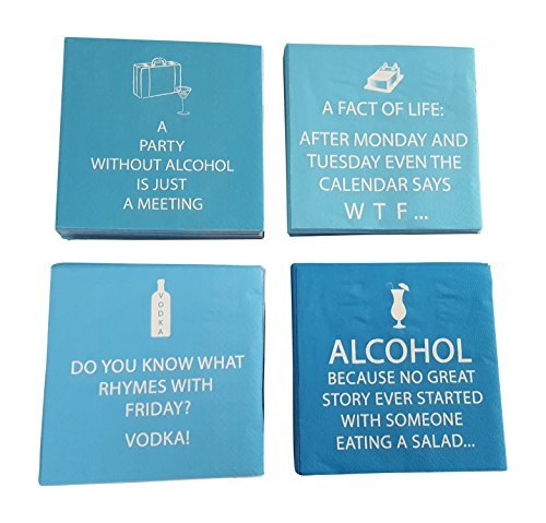 - Funny Cocktail Napkins Fun Quotes Blue Variety Pack 40 total napkins