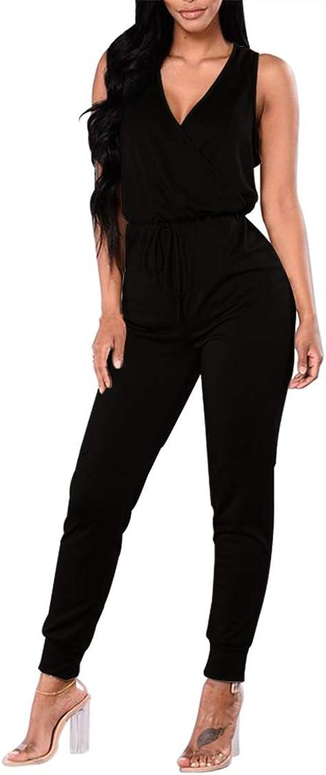 VamJump Women Deep V Neck Wrap One Piece Drawstring Jumpsuit Romper Outfit