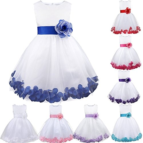 Tulle Dress Petals Burgundy Infant Formal Girls Princess Flower Wedding Pageant Kids wT7XFOw