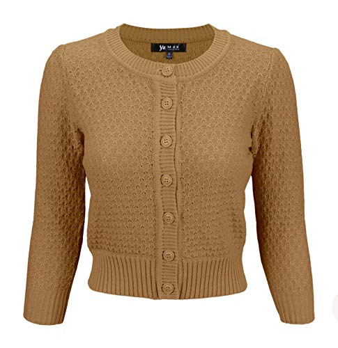 (Cute Pattern Cropped Daily Cardigan Sweater Vintage Inspired Pinup MK3514-CAM-M Camel)