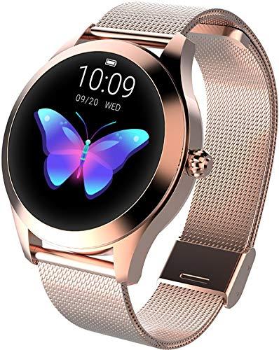 Smartwatch Damen Rosegold Rund Fitness Armband Elegant Aktivitätstracker IP68 Wasserdicht Schrittzähler Schlaftracker Kalorienverbrauch
