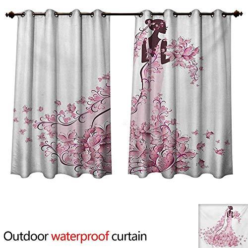 WilliamsDecor Wedding 0utdoor Curtains for Patio Waterproof Flowers Hearts Butterflies on Wedding Dress Bridal Gown Artowork Print W96 x L72(245cm x 183cm)