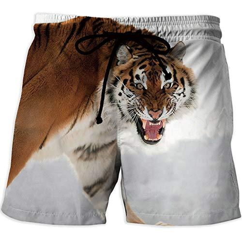- Men's Watershorts, Tiger,Athletic Shorts PocketsPanthera Tigris Altaica Close up