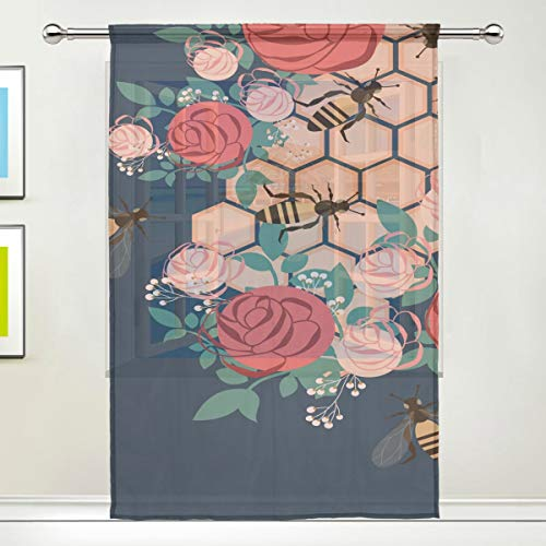 - Rose Bumblebee Honey Pink 78 Inch Sheer Curtains Window Voile Panels for Bedroom & Kitchen