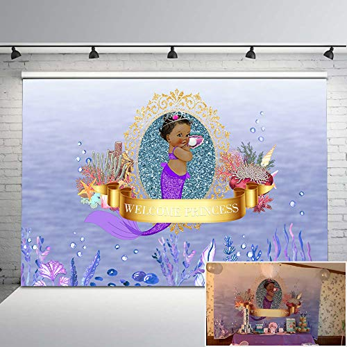 Mehofoto Mermaid Themed Baby Shower Backdrop Purple Little Princess Photography Backdrop 7x5ft Pearl Coral Seashell Photo Background for Girls]()