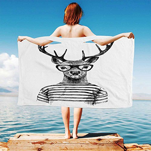 (iPrint Deer Quick Dry Plush Microfiber (Towel+Square Scarf+Bath Towel) Dressed up Reindeer Headed Human Hipster Style with Glasses Stripped Shirt and Adapt to Any Place)
