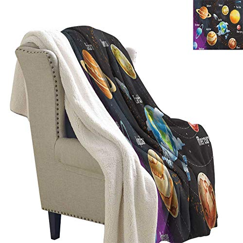 (Suchashome Outer Space Fluffy Blanket Throw Solar System of Planets Milky Way Neptune Venus Mercury Sphere Illustration Berber Fleece Blanket 60x78 Inch Multicolor)