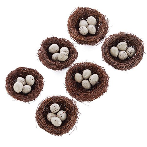 (Factory Direct Craft Group of 6 Natural Angel Vine 3 Inch Bird Nests with 0.75 Inch Miniature Speckled Eggs Inside for Wedding Favors, Party Favors or Baby Showers)