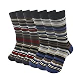 SUTTOS Mens Crazy Wonder Fun 6 Pairs Colorful Vintage Styly Pinstripe Stripe Ribbed Mid Calf Design Long Tube Performance Crew Dressy Socks
