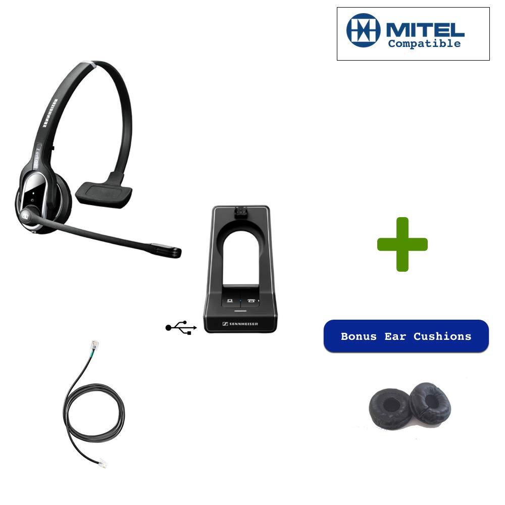 Sennheiser SD PRO1 - Deskphone Cordless Headset Bundle with Mitel EHS Adapter | for Mitel Phones | Compatible with IP Telephones, Digital and Analog Mitel Phones