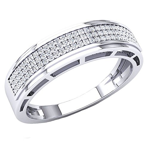 Dazzlingrock Collection 0.25 Carat (Ctw) 10K Round White Diamond Men's Hip Hop Wedding Band 1/4 CT, White Gold, Size 8.5 ()