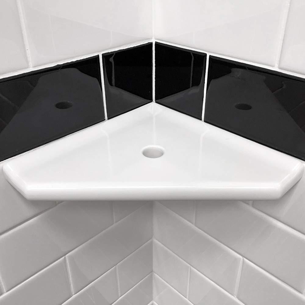 Bathroom Shower Corner Shelf 8 inch - Questech Mounted Corner Shelf - Polished White