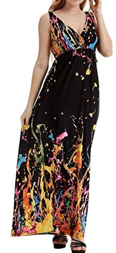 Damenkleid Sommerkleid mit Strandkleid Ärmellos Farbe Bodenlang Damen Kleid Hoche Maxikleider V Bohemian Wählbar Orange Feoya Ausschnitt Größe Taille Blumenmuster I1qYX6