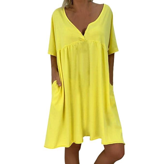 Vestido Suelto Talla Grande para Mujer Mini Vestido Casual ...