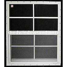 "Shed Windows 24"" X 36"" White Flush Mount SAFETY/TEMPERED GLASS, Playhouse Windows, Chicken Coop Windows"