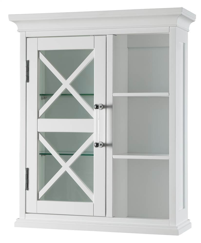 Blue Ridge 1-Door Wall Cabinet with Cubbies in White