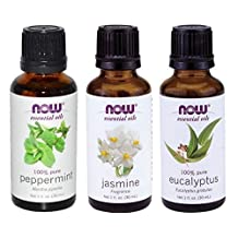 NATURAL Aromatherapy Pure Therapeutic Grade NOW Foods Essential Oils Set. 3-pack of Jasmine, Peppermint, Eucalyptus. BEST for Balance, Healing, Relieve, Sleep, Weight Loss, Cooking, Purify Blends