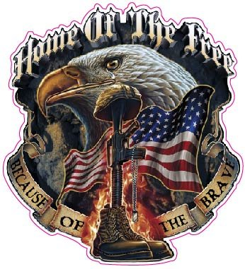 """Home of the Free Because of the Brave 5"""" Decal from the United States"""