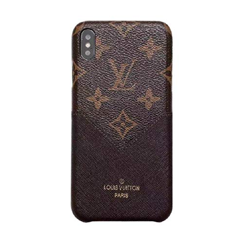 Phone case for iPhone X/XS, Fashion Elegant Luxury Designer Classic Monogram Vintage Style Card Holder for iPhone X/XS, Full Protection case for iPhone X/XS (Brown)