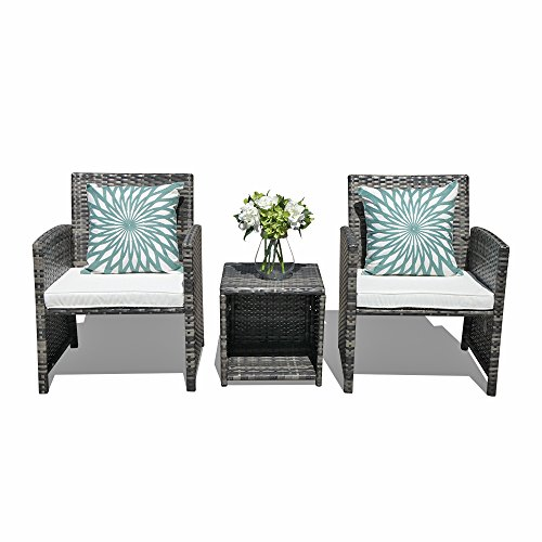 Orange Casual - Outdoor 3 Pieces Bistro Wicker Rattan Sets Patio Furniture Sets, Coffee Table with Storage Function, Cushioned Seat