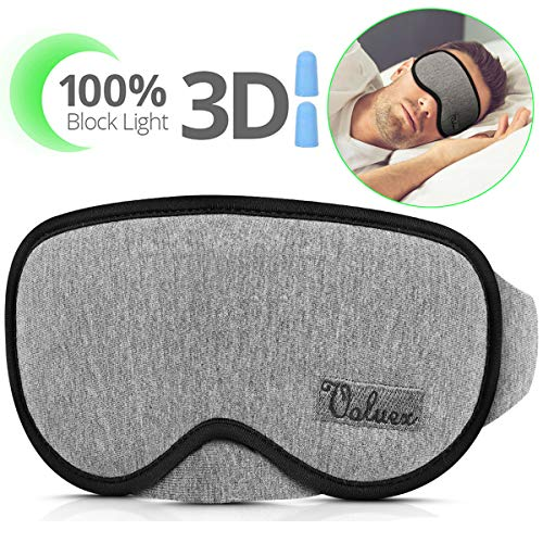 Upgraded Sleep Mask, VOLUEX Sleeping Masks for Men Women Kids, 100% Blocking Light, Breathable Memory Foam with Cotton, Adjustable Washable Contoured 3D Eye Mask for Sleeping Blindfold Mask for Travel