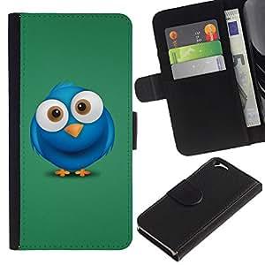 All Phone Most Case / Oferta Especial Cáscara Funda de cuero Monedero Cubierta de proteccion Caso / Wallet Case for Apple Iphone 6 // Blue Bird Big Eyes Drawing Cartoon Character