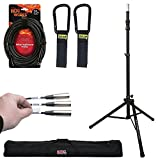Ultimate Support TS-100B Air-Powered Series Lift-assist Aluminum Tripod Speaker Stand with Integrated Speaker Adapter + Stand Case + Lable Kit + Mic Cable + Cable Carrier - Top Value Bundle