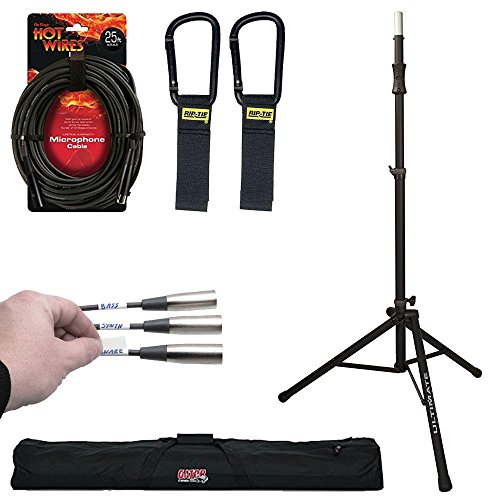 Ultimate Support TS-100B Air-Powered Series Lift-assist Aluminum Tripod Speaker Stand with Integrated Speaker Adapter + Stand Case + Lable Kit + Mic Cable + Cable Carrier - Top Value Bundle by Ultimate Support