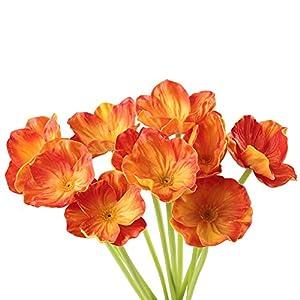 Artificial Flowers, Meiwo 10 Pcs Fake Poppies Flowers for Wedding Bouquets / Home Decor / Party / Graves Arrangement 4