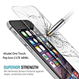Alcatel One Touch Pop Icon 2 LTE A846L - Glass Screen Protector, The3Knights[TM] [Tempered Glass] +The3Knights[TM] Classic Stylus (Alcatel One Touch Pop Icon 2 LTE A846L)