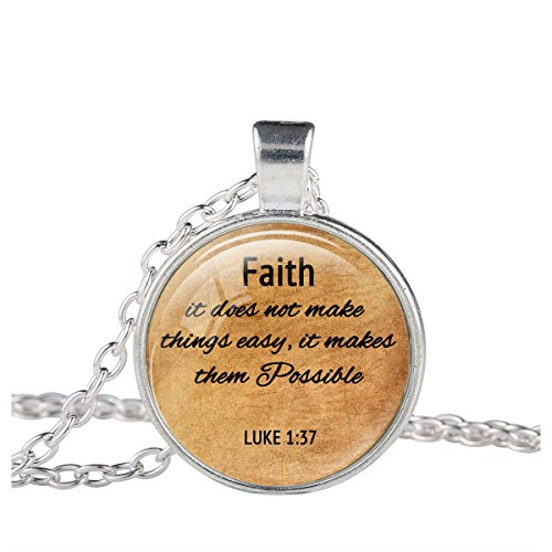 FM42 Silver-tone Faith & Possible Christian The Bible Religious Inspirational Quote Pendant Necklace (Thing 1 And Thing 2 Costume Ideas)