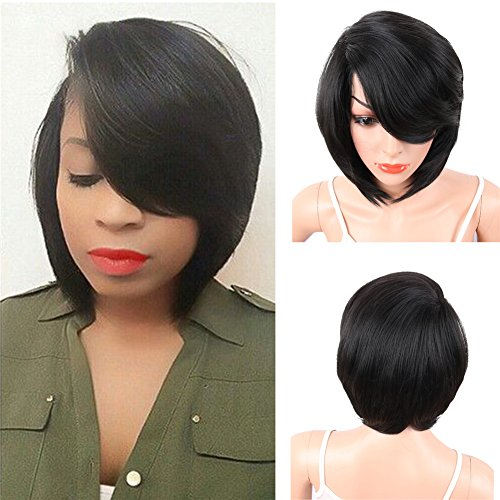 KRSI Short Pixie Cut Straight Bob Synthetic Wigs for Women Heat Resistant Costume African American Wigs with Bangs Natural Black Full Wigs That Look Real+Free Wig Cap (Black 2) by KRSI (Image #1)