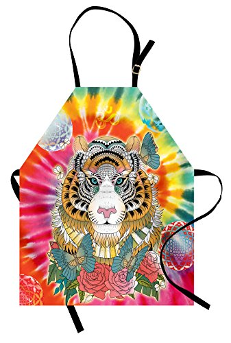 Ambesonne Animal Apron, Tiger Portrait Butterflies Roses Abstract Globes Colorful Sun Background, Unisex Kitchen Bib Apron with Adjustable Neck for Cooking Baking Gardening, Multicolor by Ambesonne