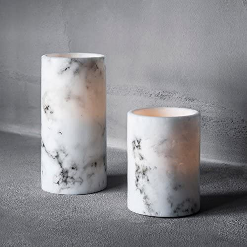 Lights4fun, Inc. Set of 2 Marble Wax Battery Operated Flameless LED Candles