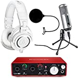 Audio-Technica ATH-M50X Pro Studio Headphones (White) with USB Audio Interface Bundle includes Headphones, Focusrite Scarlett 2i2, ATR2500-USB Cardioid Dynamic USB Microphone and Wind Screen - White