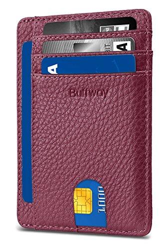 Slim Minimalist Leather Wallets for Men & Women - Lichee Rose Red