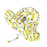Jan & Jul Baby Cotton Sun Hat 50 UPF, Adjustable Good Fit, Stay-on Tie (S: 0-6m, Yellow Pineapple)