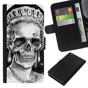 Leather Etui en cuir || HTC DESIRE 816 || Dios reina Corona Cráneo Muerte Inglaterra @XPTECH