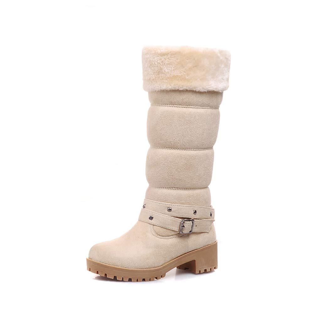 Hy Damenschuhe Suede Herbst/Winter Comfort Cotton Stiefel Schneestiefel Stiefel/Damen Winter New Square Heel Mittelrohr Stiefelies/Stiefeletten Student Warm Skiing Schuhe (Farbe : EIN, Größe : 34)