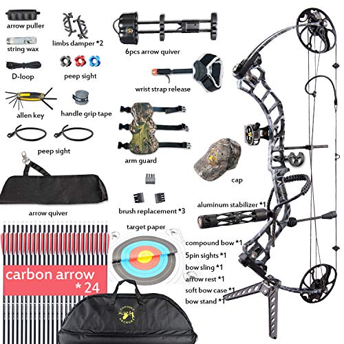 XQMART XGeek Archery Compound Bow Package Hunting Accessories,19-30″ Draw Length,15-70Lbs Draw Weight(Ship from USA Warehouse) (red, Blue, camo, Black) (Blue) (Black camo) Review