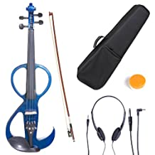 Cecilio CEVN-3BL Ebony Fitted Silent Electric Violin, Style 3, Metallic Blue, Size 4/4 (Full Size)