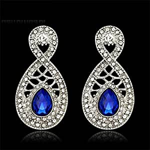 Top Beautiful Hot Design Blue Glass Clear Rhinestones Bridal Party Earrings