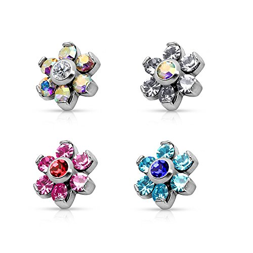 Internally Threaded Dermal Anchors - Set of 4 Prong Set Crystal Flower Internally Threaded Dermal Anchor Tops in 316L Surgical Steel