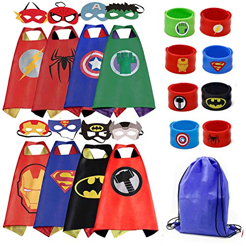LansKids Dress up Superhero Capes Costume and Mask with Wristbands for Kids ()