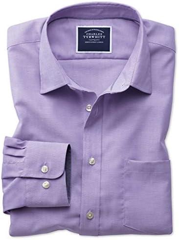 Camisa Oxford Morada Lisa de Corte Clã¡Sico sin Plancha ...