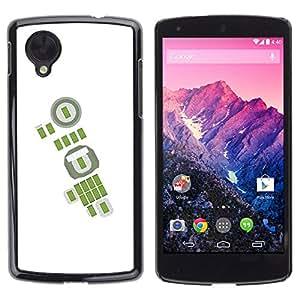 GOODTHINGS Funda Imagen Diseño Carcasa Tapa Trasera Negro Cover Skin Case para LG Google Nexus 5 D820 D821 - verde abstracto blanco del fútbol del fútbol
