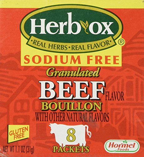 Herb-Ox Bouillon Packets Beef Instant Broth & Seasoning Sodium Free 1.1 oz Box (Gluten Free)
