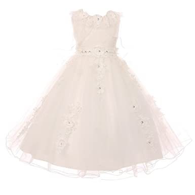 0b22c858a78af Little Girls White Lace Satin Tulle Poncho-Style Overlay Flower Girl Dress 6