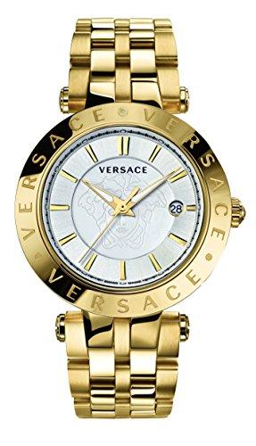 Versace Men's VQP050015 V-Race 42 mm 3 Hands Analog Display Swiss Quartz Gold Watch
